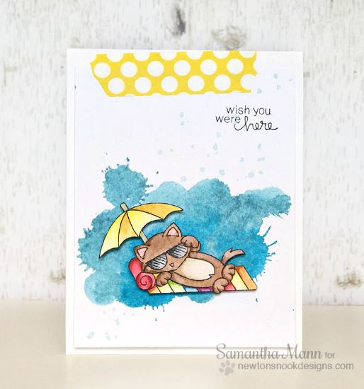 Wish You Were Here Card Cat Beach Card by Samantha Mann | Newton's Summer Vacation Stamp set by Newton's Nook Designs #beach #cat #newtonsnook