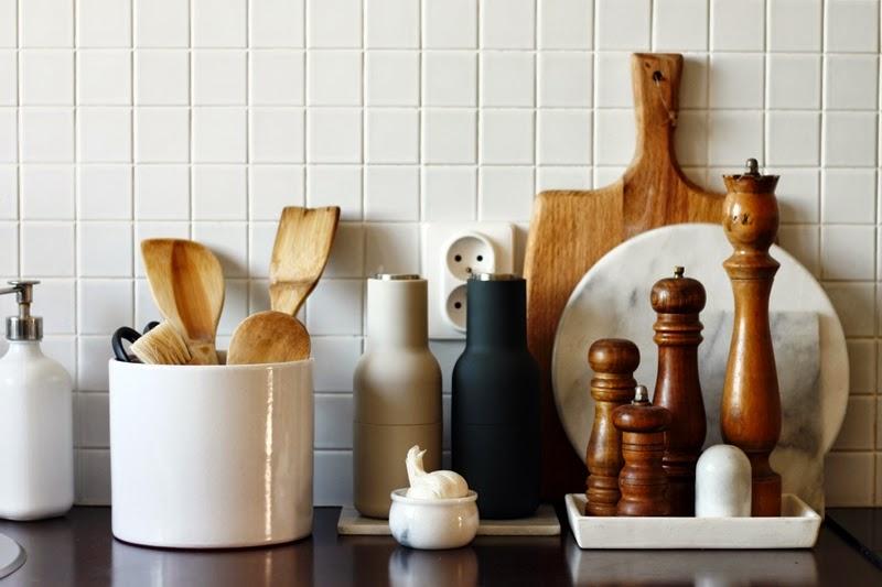 marmur, drewno, kuchnia, deski, młynki, Menu, mozaika, czosnek