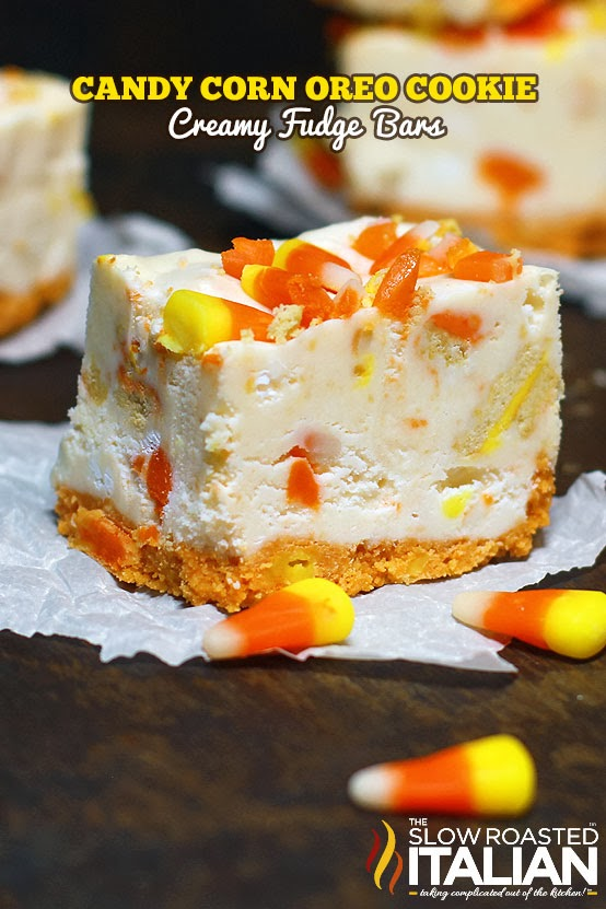 Candy Corn Oreo Cookies and Cream Fudge Bars