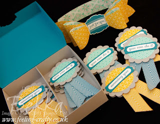 Just for You Teachers Gift of Encouragement and Congratulations Rosettes by UK based Stampin' Up! Demonstrator Bekka Prideaux featuring the Label Love and Express Your Self Stamps, Eastern Elegance Papers and the Gift Bow Die.  Check out her blog for details