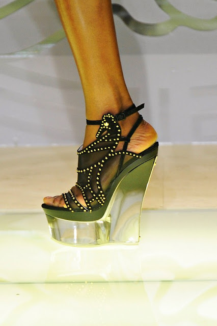 Versace Studded Suede And Mesh Wedges