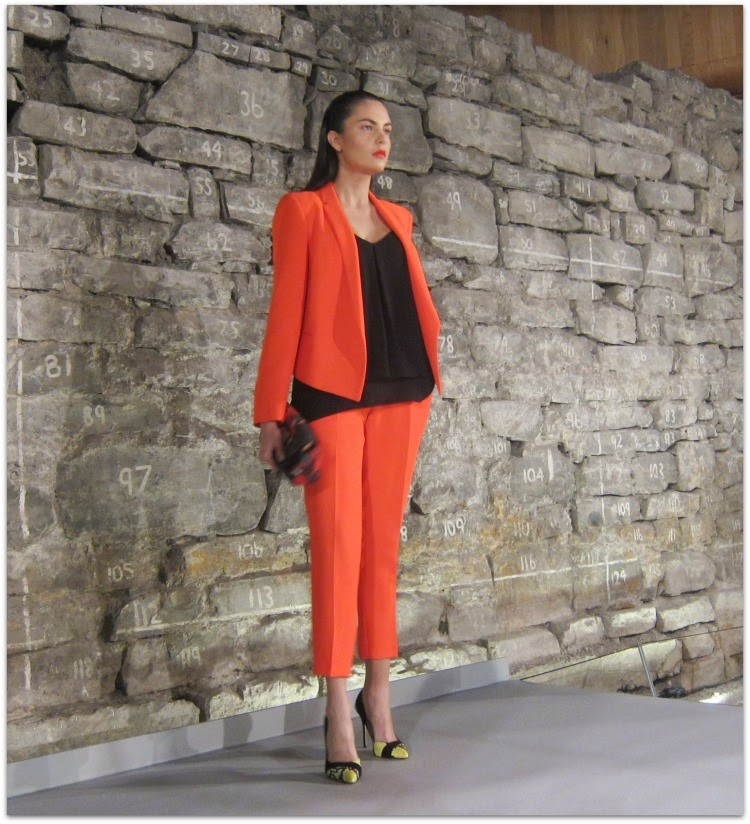 Tara Jarmon coral jacket and trousers, Carvela shoes