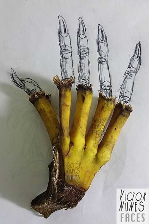 02-Banana-Stems-Hand-Victor-Nunes-The-Art-of-Making-and-Drawing-Faces-using-Everything-www-designstack-co