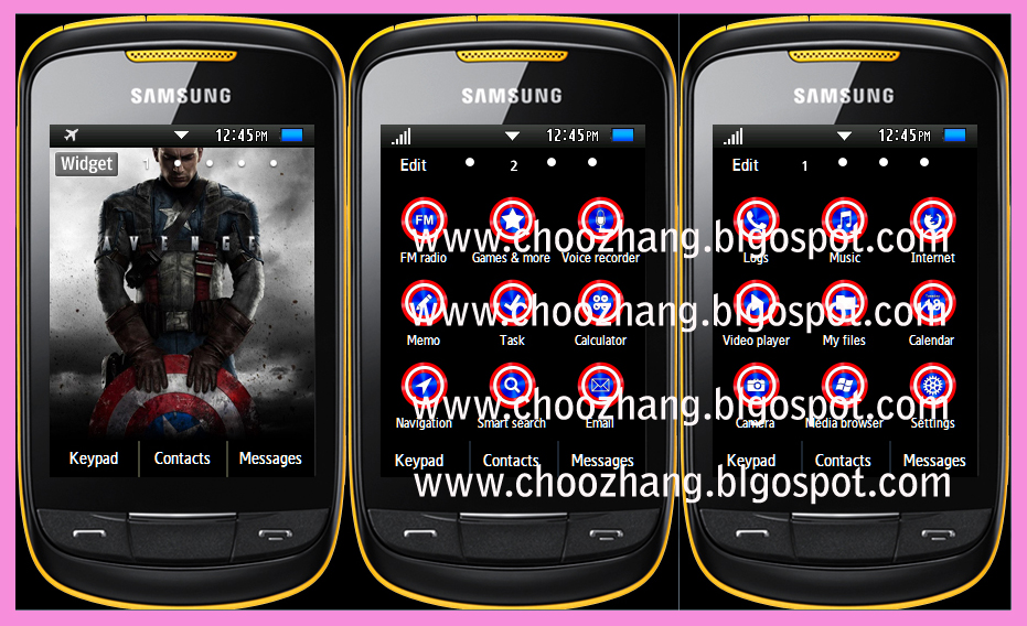 Samsung Corby 2 or S3850 - Captain America Themes