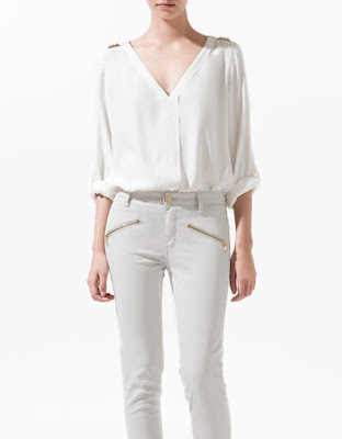 Zara White Studded Blouse 102