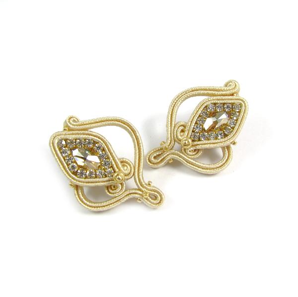 Kolczyki ślubne sutasz ecru z kryształami Swarovski