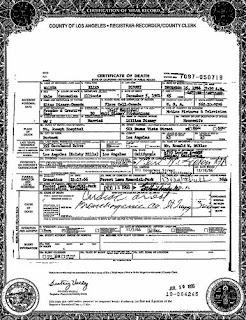 Certificado defunción Walt Disney
