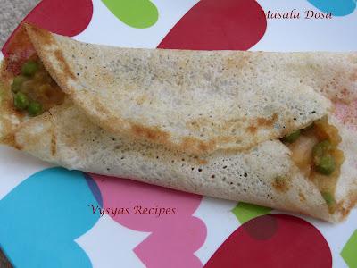 masala dosa  recipe - with green peas - indian  dosa varieties