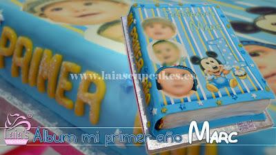 Tarta personalizada fondant álbum de fotos Laia's Cupcakes Puerto Sagunto