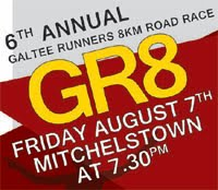 8km race in Mitchelstown, NE Cork...Fri 7th Aug