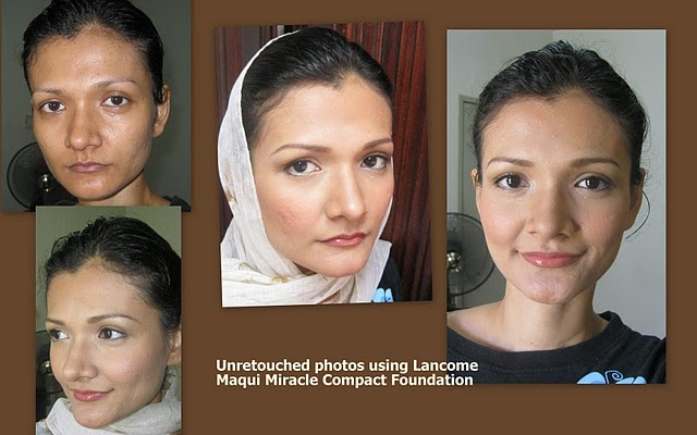 Enhance radiance with makeup using Lancome Maqui Miracle Compact