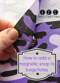 How to add a magnetic snap to bags/totes by Gina's Craft Corner