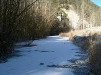 La cua del pantà, situada a la banda més obaga, presenta espais glaçats i amb calabruix