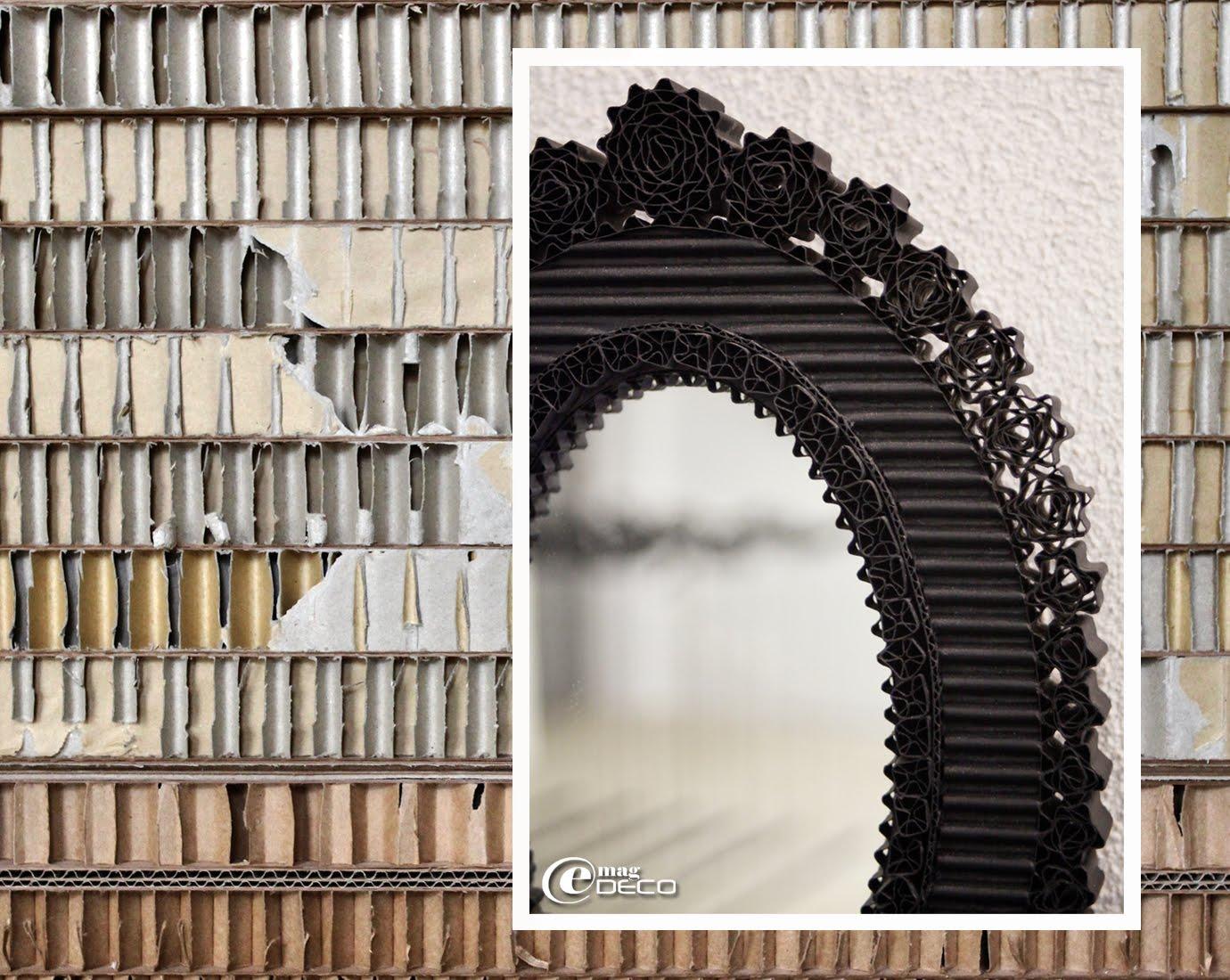 Détail du miroir ovale 46 Roses, création en carton de Cécile Chappuis