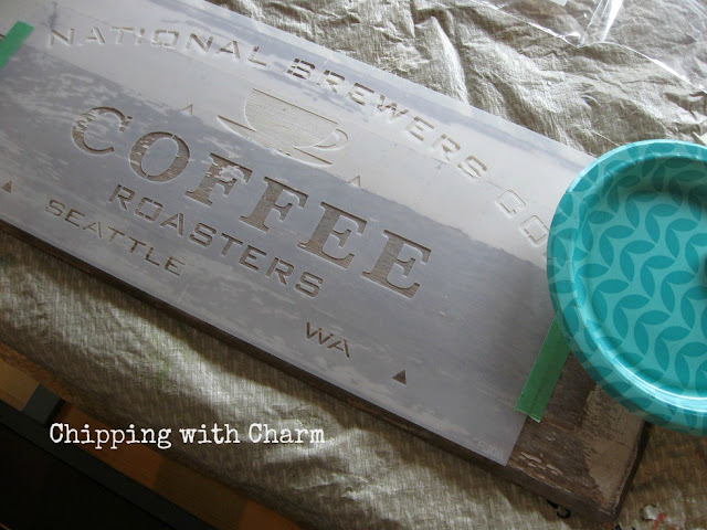 Chipping with Charm...Hot Drink Station using Old Sign Stencils