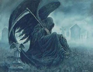 Angel of Death wearing the hooded black cloak and carrying the schythe