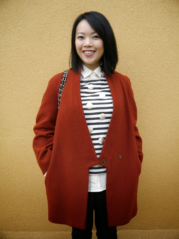 Cocoon coat and a fun twist on Breton stripes