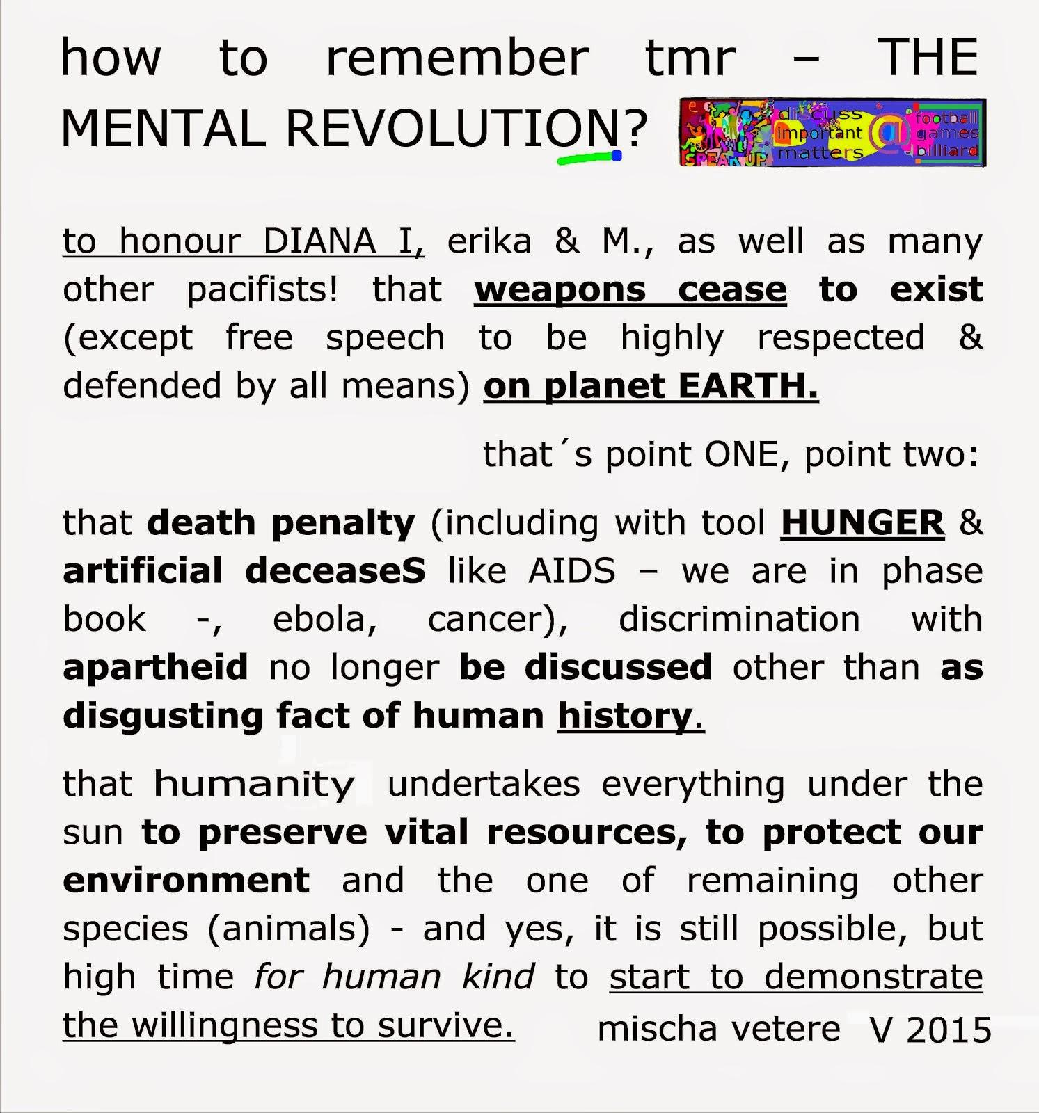 HOPE humanity TMR THE MENTAL REVOLUTION mischa vetere princess diana princes of wales NOBEL barack