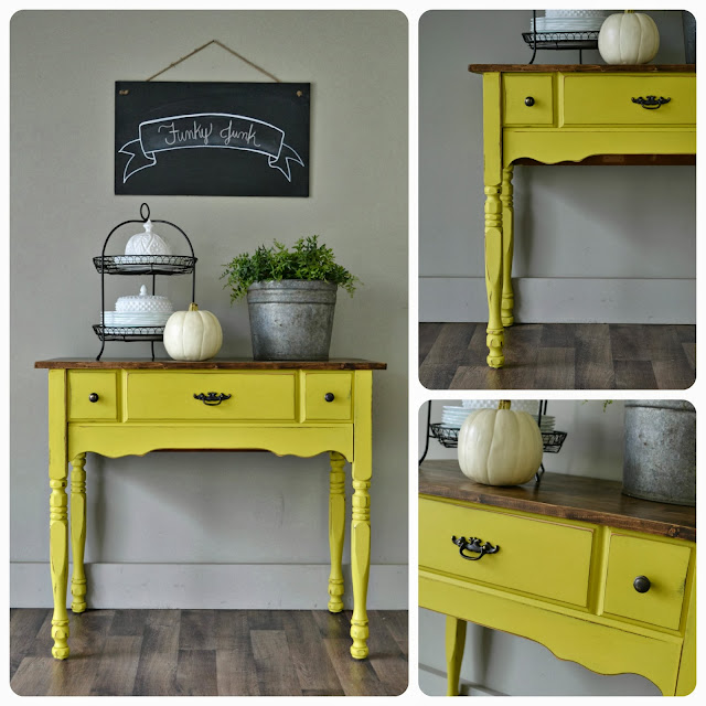 Funky Foyer Furniture : Funky junk english yellow table