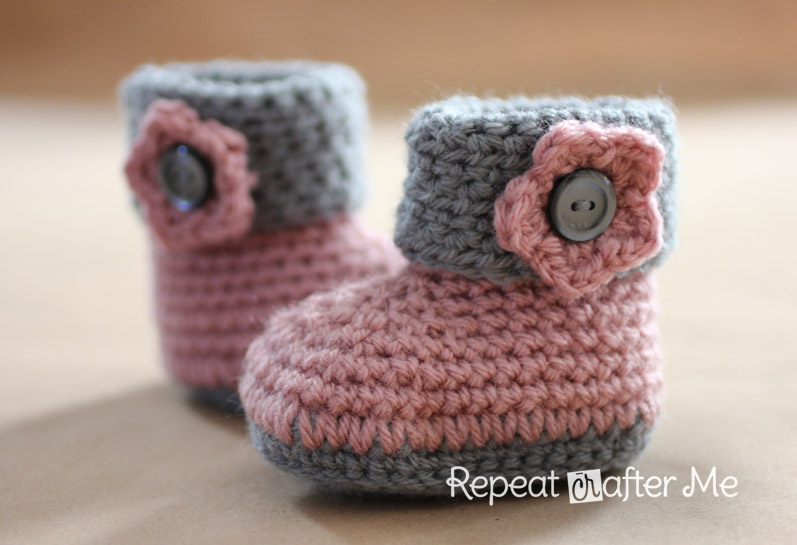 Crochet Baby Booties Pattern With Pictures : Crochet Cuffed Baby Booties Pattern - Repeat Crafter Me