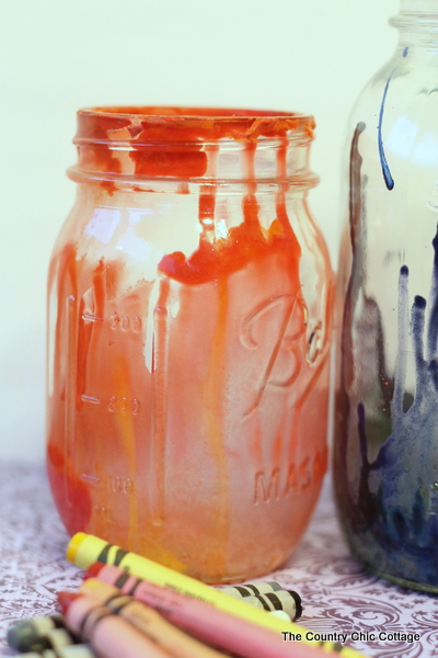 Crayon Drip Mason Jars from The Country Chic Cottage