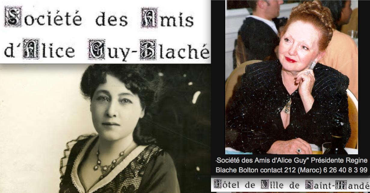 """""""Société des Amis d'Alice Guy""""  Présidente Regine Blache Bolton contact 212 (Maroc) 6 26 40 8 3 99"""