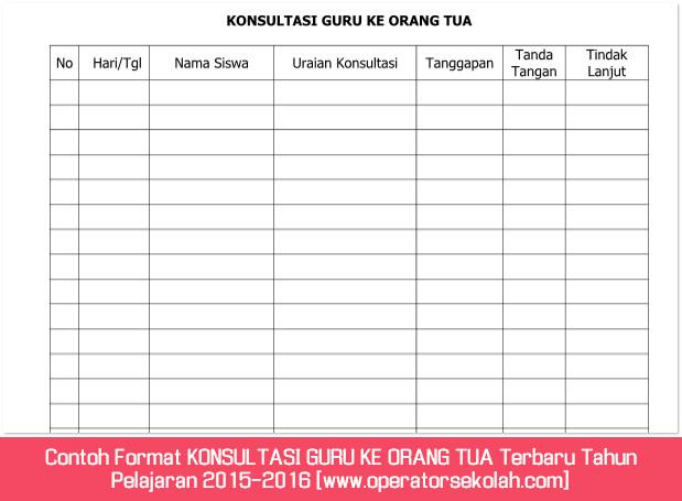 Contoh Format KONSULTASI GURU KE ORANG TUA Terbaru Tahun Pelajaran 2015-2016 [www.operatorsekolah.com]