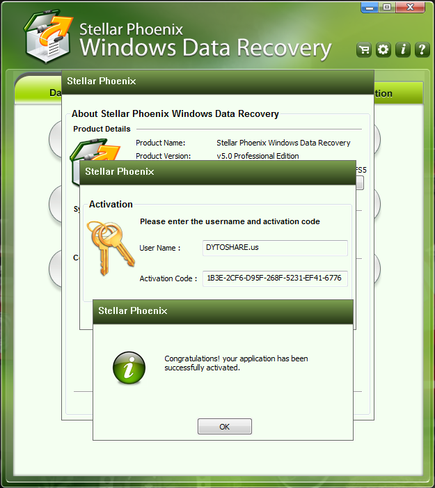 activation code for stellar phoenix windows data recovery