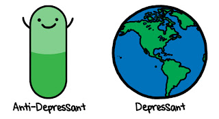 cartoon says antidepressant is a pill while depressant is the world