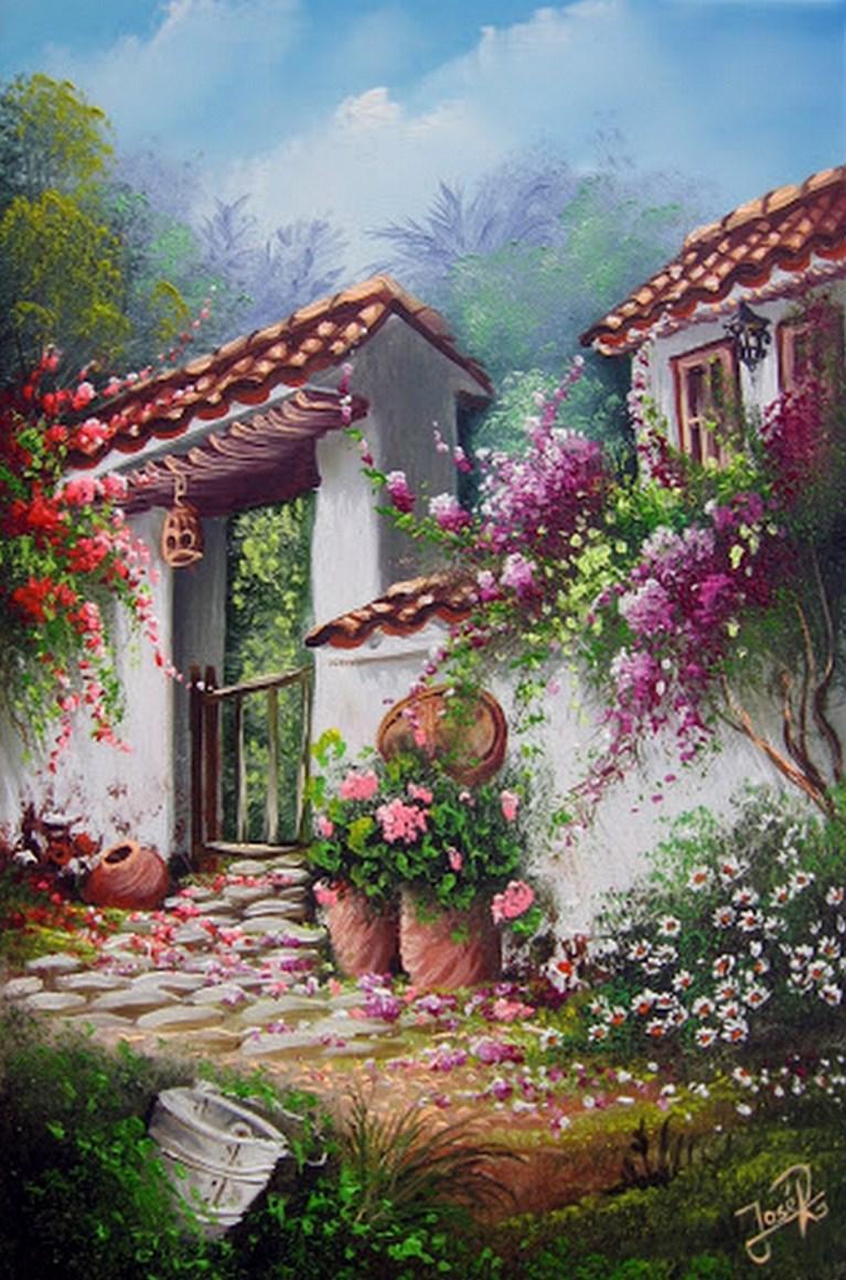 cuadros modernos pinturas y dibujos pinturas de paisajes campesinos colombianos. Black Bedroom Furniture Sets. Home Design Ideas