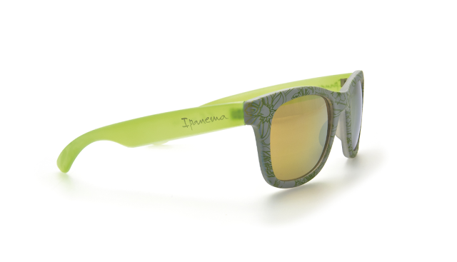 Ipanema green Wayfarer Sunglasses with flower pattern