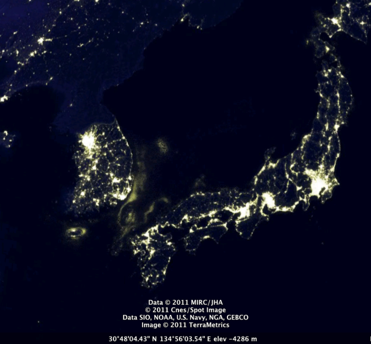 north korea at night from space. (North Korea, a country that