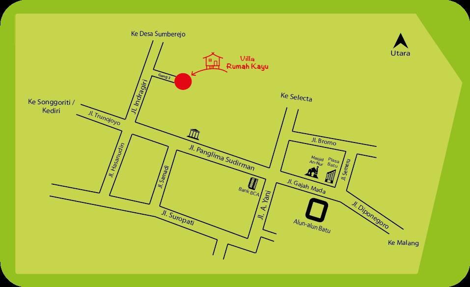Peta Villa Rumah Kayu Batu malang