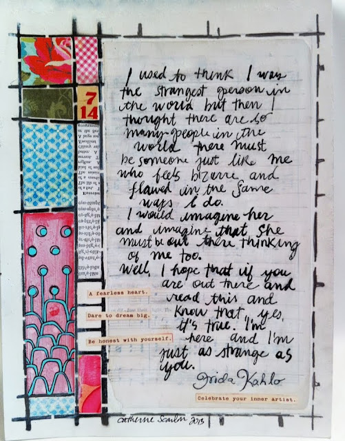"9"" x 12"" Art Journal page using ""CSSTL-003 Grid Art Journal Stencil"" by Catherine Scanlon for Art Gone Wild! and Friends"