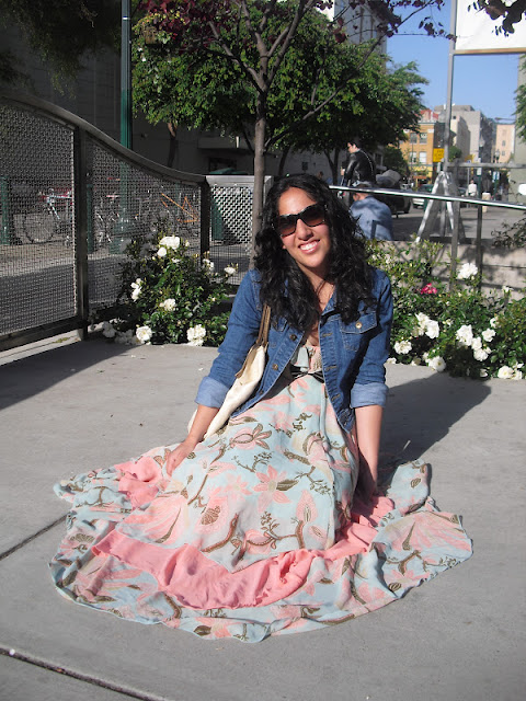 Pastel Print Maxi Dress and Denim Jacket