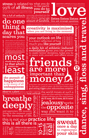 Lululemon's manifesto is inspiring and close to our hearts. It tells us to love, that friends are more important than money, and provides inspiration.