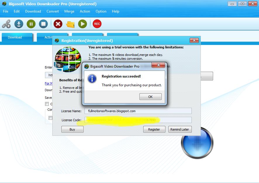 bigasoft video downloader serial key