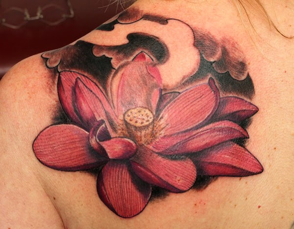 Red Lotus Flower Tattoo Design In Back Body