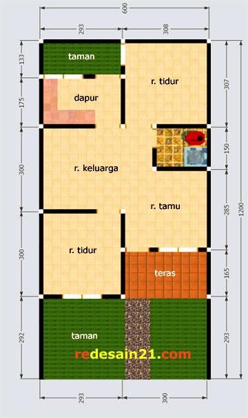 Desain Rumah Type 48 untk luas tanah 72 m2 - denah