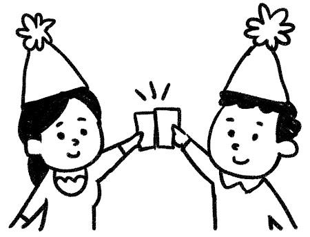 パーティのイラスト「乾杯!」 白黒線画