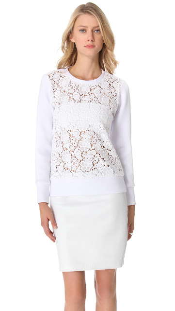 Tibi Sigrid Lace Sweatshirt and 10 Crosby Derek Lam Leather Pencil Skirt