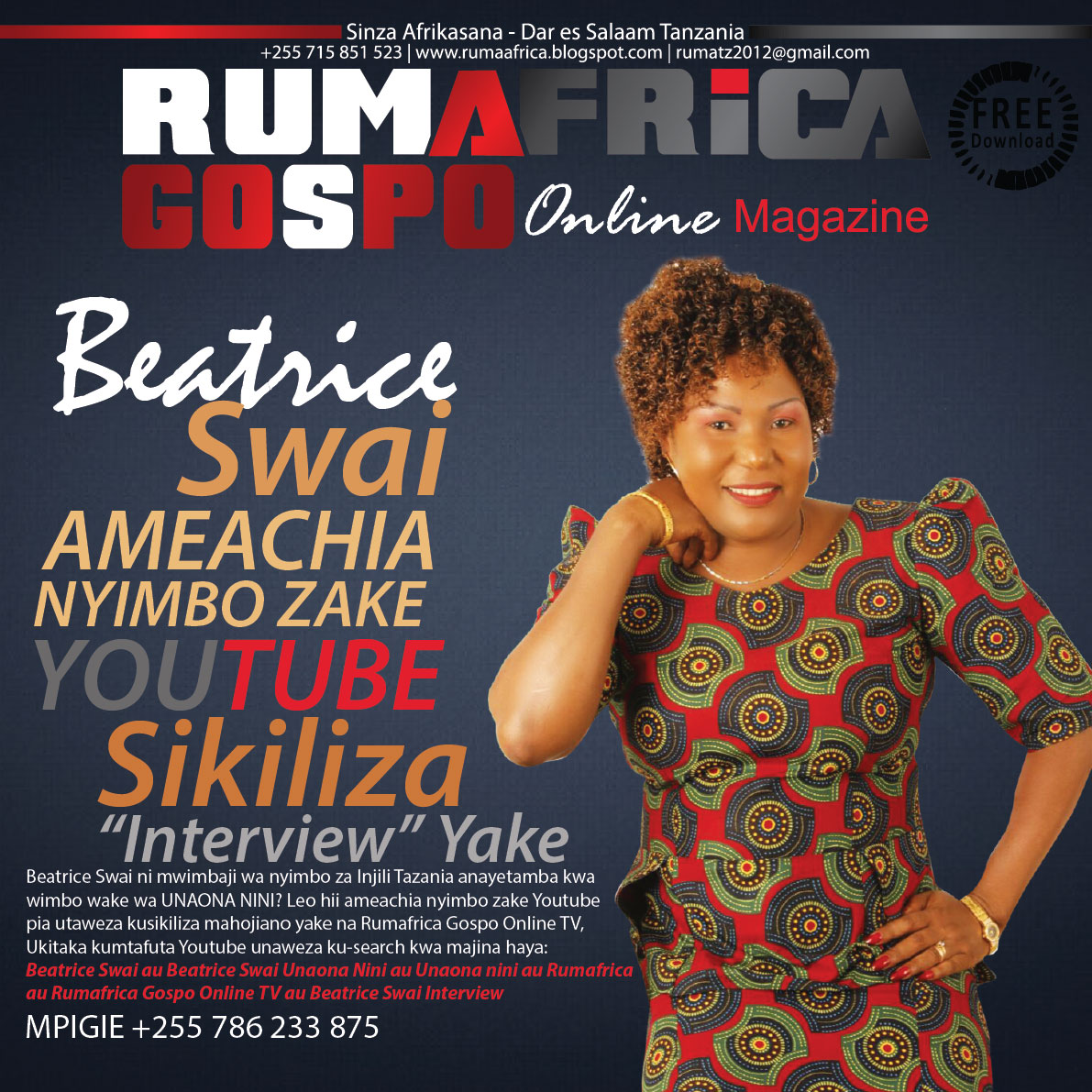 BEATRICE SWAI AMEACHIA NYIMBO NA INTERVIEW  ZAKE YOUTUBE