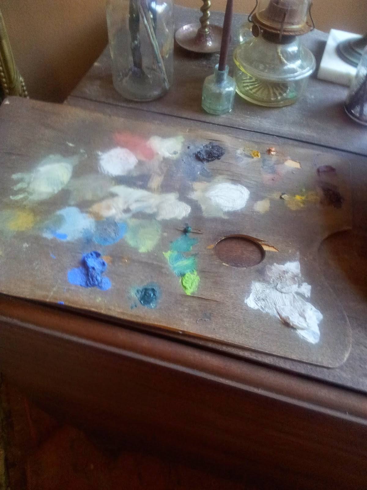 Dried paint on a palette - Edgar Degas' bedroom - Degas House, New Orleans