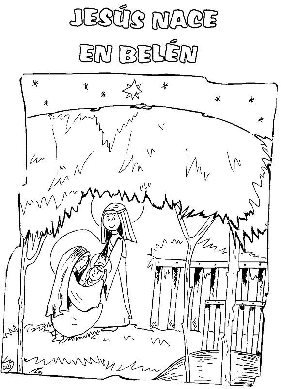 Imagen del Nacimiento de Jesús para colorear ~ Mi vida sin Cristo no ...