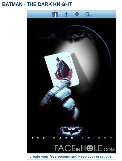 Faceinhole.com Batman - Ada dua jenis frame batman, yang pertama