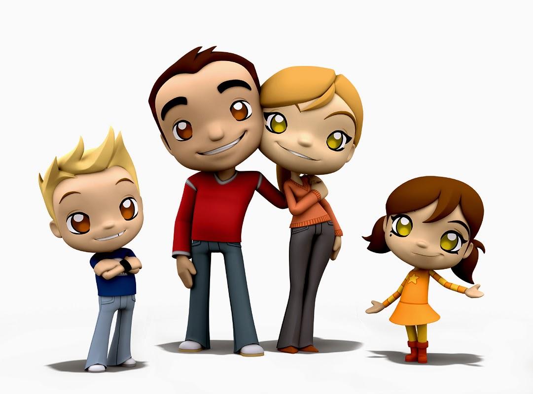 keluarga kecil bahagia anak dan orang tua kartun keluarga dan anjing ...