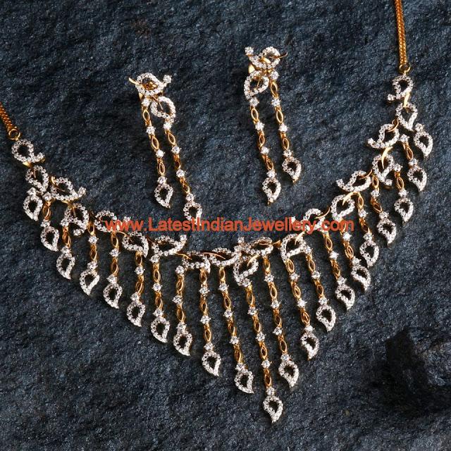 Bhima Jewellery Bands: Spell Bounding Designer Diamond Necklace Set In