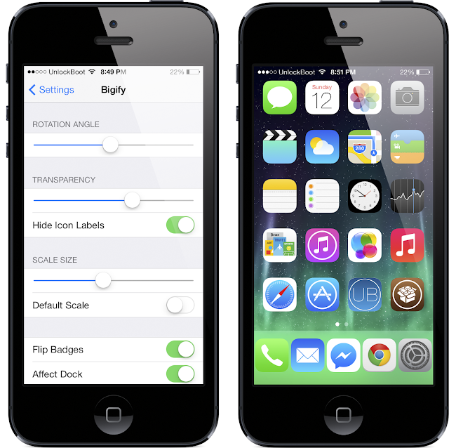 Bigify IOS 7 tweak