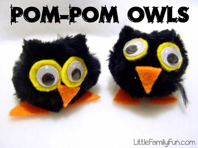 http://www.littlefamilyfun.com/2011/04/pom-pom-owls.html