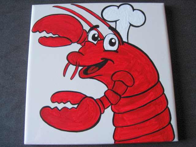 Lobster Chef painted ceramic tile